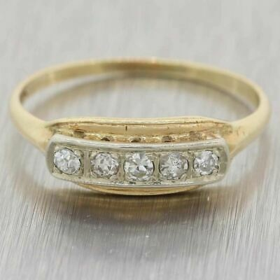 1930s Antique Art Deco 14k Yellow White Gold 0.25ctw Diamond Wedding Band Ring