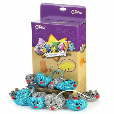"""18 Pack 2.4"""" Catnip Cat Toys Mice Soft Heart Mouse with Sequins Kitten Fun Play"""