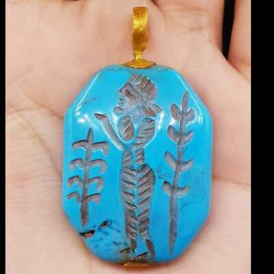 Old Wonderful turquoise King seal intaglio stone gold plated pendant #5
