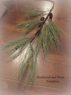 "Primitive Country Faux Long Needle Christmas Pine Branch - Realistic 28"" Long"
