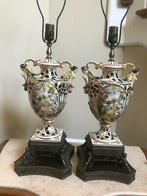 Working Pair Antique Vintage Capodimonte Cherub Mythical Lamps Italian.