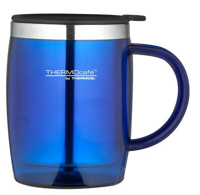 ThermoCafé by Thermos Desk Flask Mug Cup Durable Stainless Steel 450ml Blue New