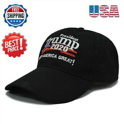 President Trump 2020 Hat Keep America Great! USA Flag Black Embroidered Cap Hat