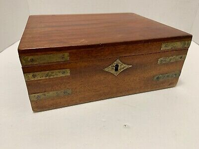 Antique Mahogany Desk Box Inlaid Brass Straps & Escutcheon Velvet Lined 9x7x3.5""