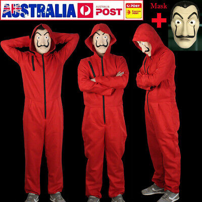 Salvador Dali Money Heist The House of Paper Cosplay Costume Jumpsuit + Mask Set