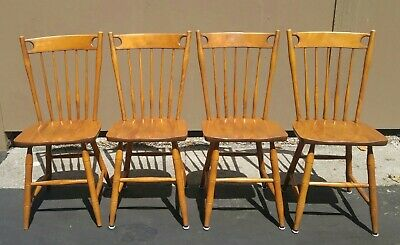 Set of 4 Vintage S. Bent & Bros Colonial Chairs