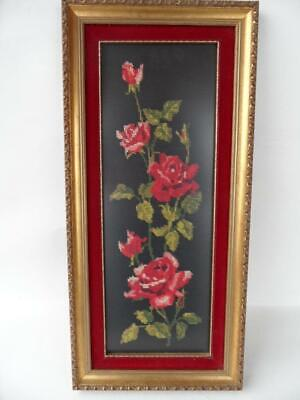 Gold framed red velvet border insert hand made needlework tapestry floral roses