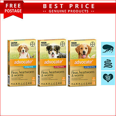 ADVOCATE Flea Heartworm Worm Treatment for Dogs 6 Doses Fast and Free Shipping