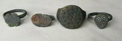 Ancient - Antique - Medieval Bronze Artifacts - Lot Of 4 Rings - Rare