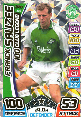 Match Attax 2017/18 Spfl  - Franck Sauzee 100 Club Legend Card - Hibernian #325