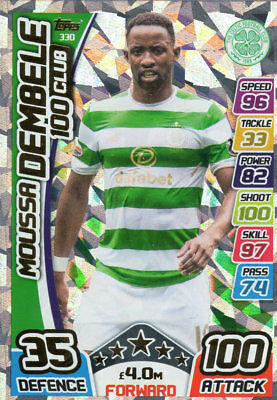 Match Attax 2017/18 Spfl  - Moussa Dembele 100 Club Card - Celtic - Spl #330