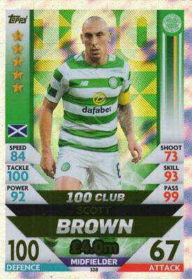 Spfl Match Attax 18/19 Scott Brown 100 Club Card - Celtic