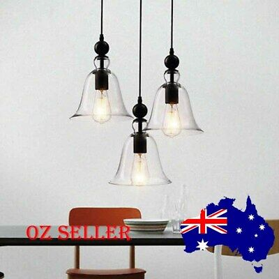 1x/2x/3x Antique Industrial Chandelier Pendant Light Glass Shade Ceiling Fitting