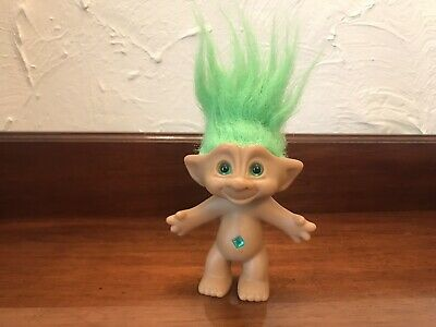 ⭐️ Vintage TROLL w/ Green JEWEL Gem Stone 80's 90's Retro Russ TOY Doll ⭐️