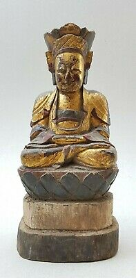 18Th / 19Th C,qing, Antique Chinese Carved Gilt Wood Buddha Seated On Lotus