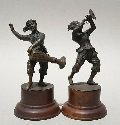 19Th C, Antique Pair Of Fine Burmese Bronze Figures With Musical Instruments