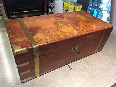 ANTIQUE campaign WALNUT wood VICTORIAN writing slope WOODEN BOX BRASS straps