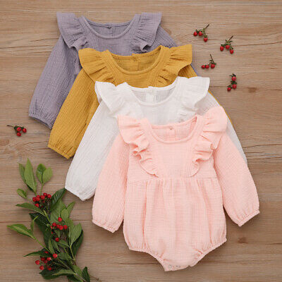 Newborn Baby Girl Kid Ruffle Romper Jumpsuit Playsuit Bodysuit Clothes Outfit
