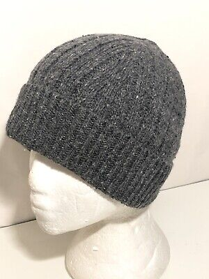 OS Nordstrom Men's Shop Lambs Wool Blend Ribbed Knit Beanie Cap Gray Speckled