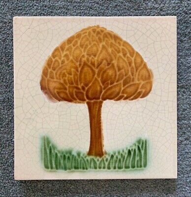 Lovely Original Antique Arts and Crafts moulded Majolica Tile C1905