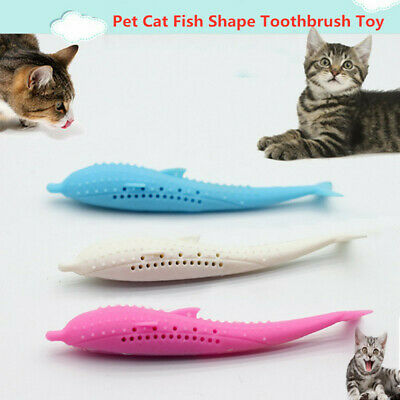 Pet Cat Fish Shape Toothbrush Silicone Molar Stick Teeth Cleaning Toy USA