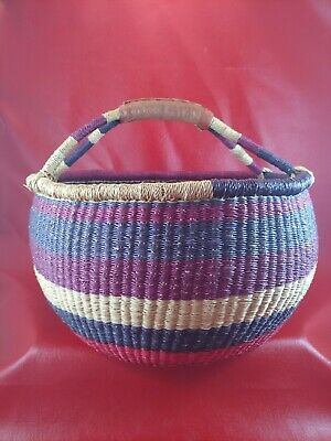 "Vintage Hand Woven Sweet Grass Basket With Handle And Leather Top. 15"" x 18"""