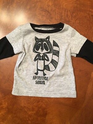 Infant Boys Okie Dokie Black And Gray Long Sleeve Shirt-Size 3 Months