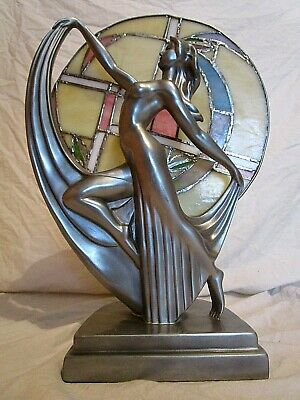 Art Deco Stained Glass Nude Lady Woman Chrome Figure Decorative Lamp Statue