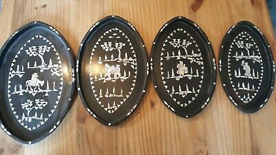 Genuine Vintage Oriental Mother Of Pearl Decorated Wood Tray Set Of 4