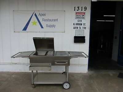 Stainless Steel Mobile Concession Stand/Food Cart w/Ice Bin, steam pan #3477