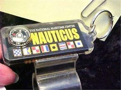 Key Ring Compass -Nauticus-Clear Plastic Over Design-Nat'l Maritime Ctr.  #10462