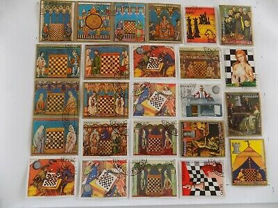 World Wide collection of all CHESS RELATED stamps off paper-8-23