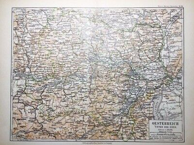 1895 Austria Atlas Map in German Language - Color, Political, Topographical RARE