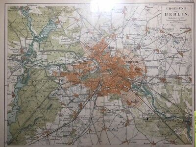 Antique Map - BERLIN GERMANY Meyers 1895 - Color, Street Map, German Language ++