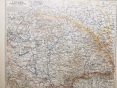 1895 HUNGARY Atlas Map in German Language - Color, Political, Cities, Topog RARE