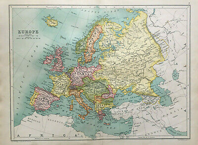 Map Of Europe British Iales France Spain Antique 1910 John Bartholomew & Co