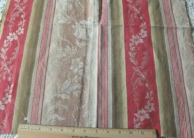 French Antique 19thC Red,Brown & Tan Cotton Ticking Fabric~Floral Ribbons~22X20