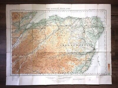 1920s ORDNANCE SURVEY MAP EASTERN HIGHLANDS SCOTLAND ABERDEENSHIRE BANFFSHIRE