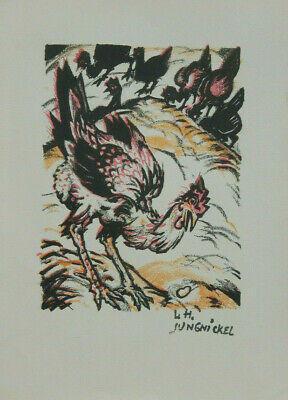 """Ludwig Heinrich Jungnickel -- Lithographie um ca. 1919 """" Huhn - Osterei """""""