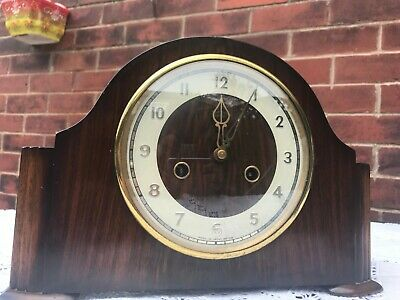 Vintage Smiths Enfield Striking Mantle Clock W/ Pendulum FOR RESTORATION/ No Key