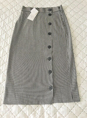 e65f7d69 ZARA BROWN BEIGE Checked Pencil Midi Skirt With Side Snap-Buttons ...