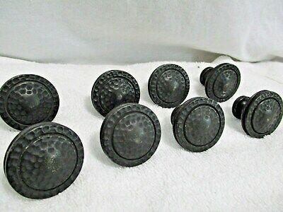 "8 Vintage 1 3/8"" Keeler Brass Co Round Drawer Knobs Pulls #53173-1 with Screws"