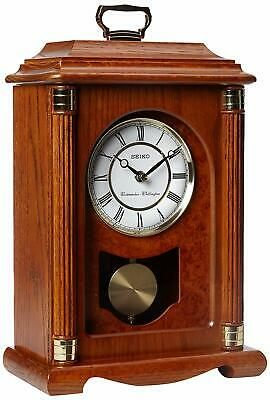 Seiko Mantel Chime with Pendulum Carriage Clock Dark Brown Solid Oak Case Metal