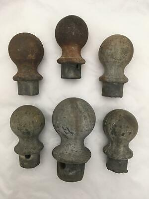 Lot of 6 Vintage Cast Iron? Ball Finials for FENCE 5 Small 1 Large VERY HEAVY