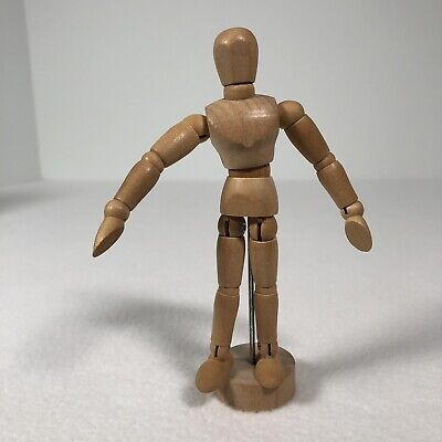 "Artist Jointed Human Model Wooden Mannequin 5"" Tall Wooden Base Human Art Model"