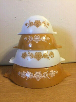 Euc Pyrex Butterfly Gold 4 Pc Mixing Nesting Cinderella Bowls 441 442 443 444