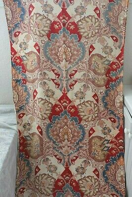 "Antique c1880 French Printed Indienne Style Frame Layout Cotton Fabric~100""X31"""
