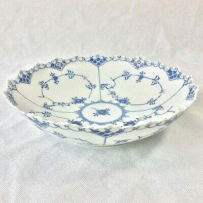 "Royal Copenhagen Blue Fluted Full Lace 11"" Large Round Serving Bowl #1019 1St Q"