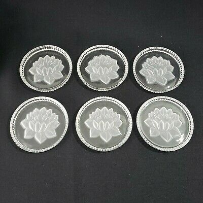 Vintage Made in West Germany Lead Crystal Drinking Coaster Set 6 Floral Etching