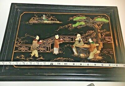 antique Chinese Black lacquer~Jade~Carnelian~MOP~Carved Hand Paint Panel SIGNED